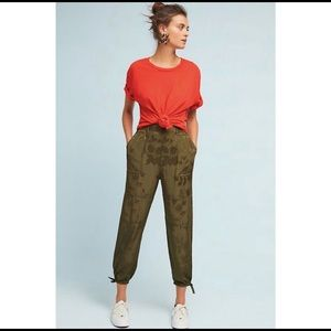 Anthropologie silky utility trousers jogger pants